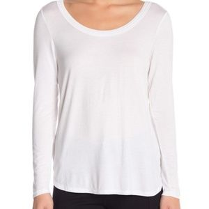 H by Bordeaux | White Long Sleeve Scoop Tee XL